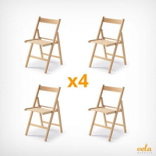 Pack 4 sillas plegables de madera