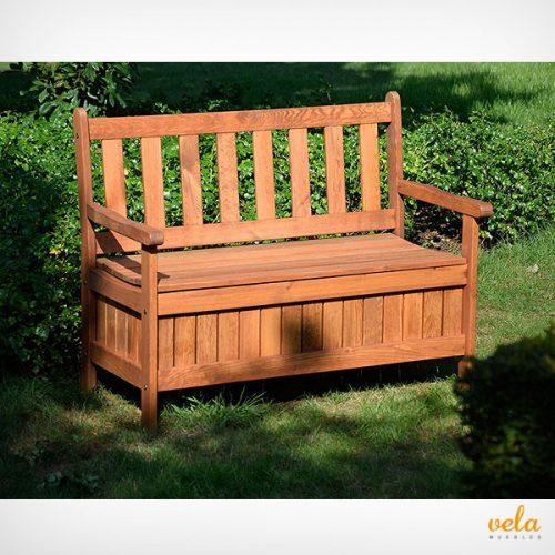 Banco de jardin de madera con almacenaje