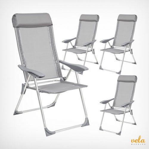 Conjunto de 4 sillas plegables de jardín de aluminio