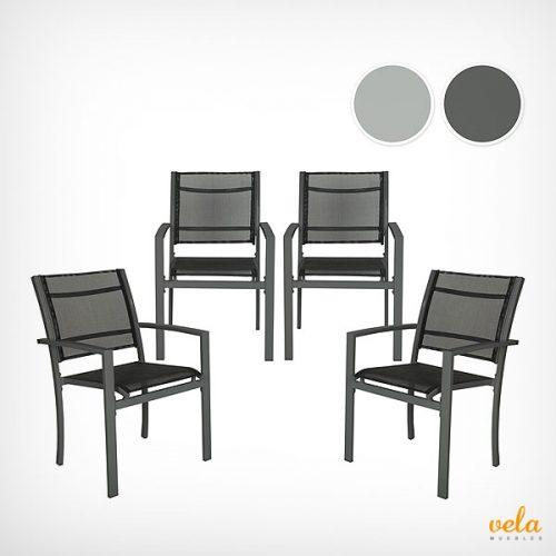 Conjunto de 4 sillas metálicas de jardín