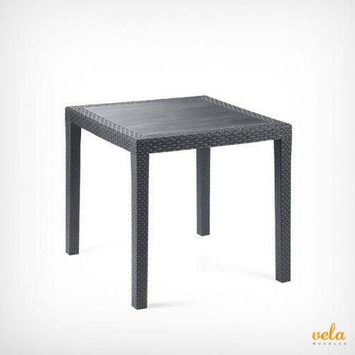 Mesa de jardín de resina plástico rattan color negro