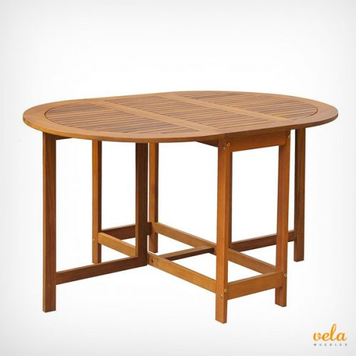 Mesa de jardín de madera plegable ovalada