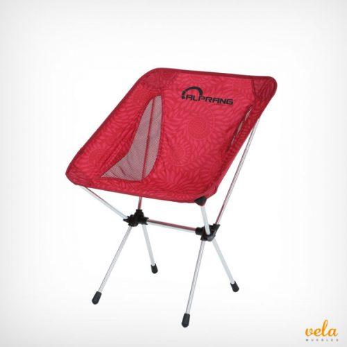 Silla plegable de camping roja de aluminio