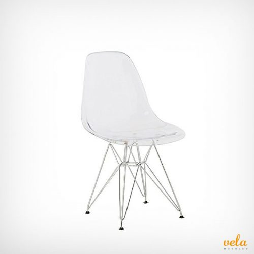 Silla transparente Eames Tower metal