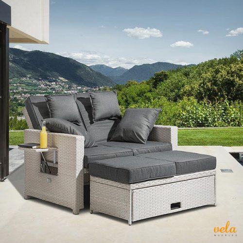 Sofá jardín y terraza con arcon, mesa, apoya piernas y bandeja para bebidas