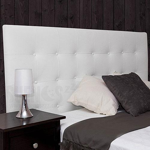 Cabeceros tapizados baratos en tela con tachuelas - Cabecero capitone blanco ...