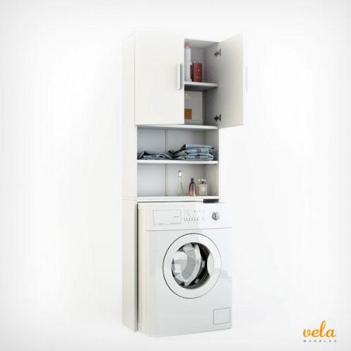 Mueble para lavadora secadora con armario encima for Mueble lavadora