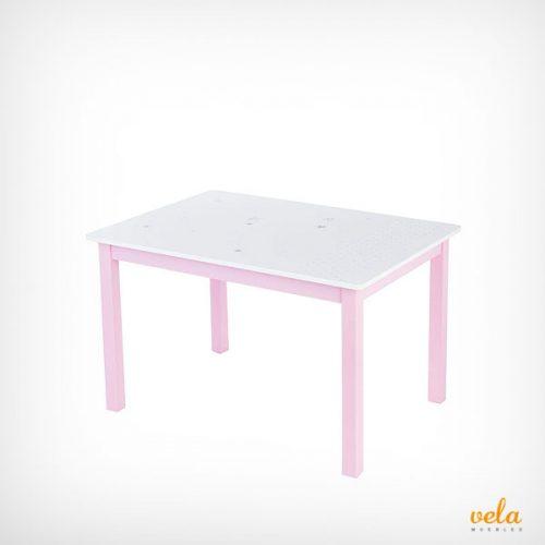 Mesa infantil de madera color rosa