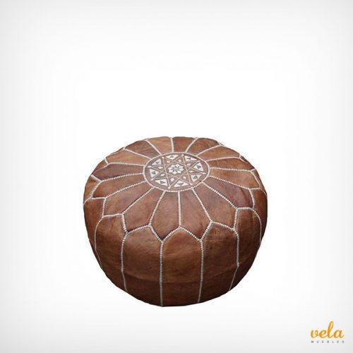 Puff marroquí piel marrón