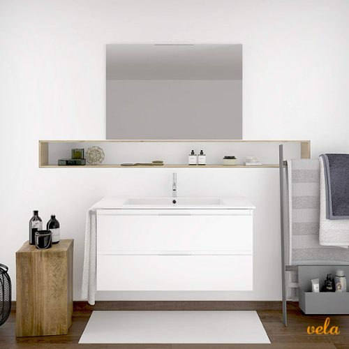 Mueble de baño suspendido con espejo y toallero