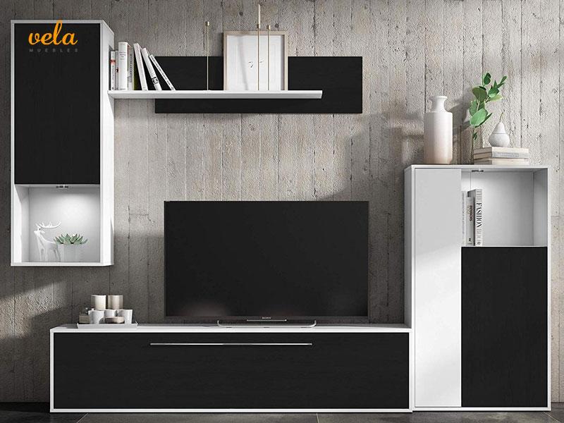 Mueble salon blanco y negro