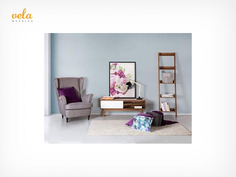 Mueble salon blanco y nogal