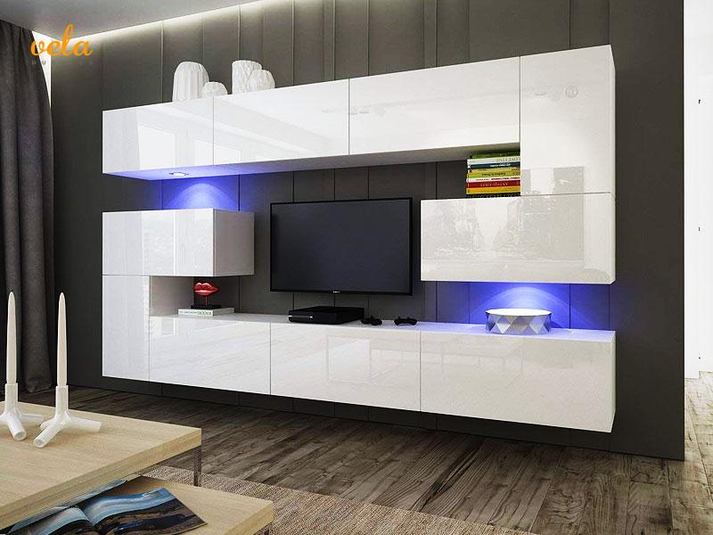 Mueble salón minimalista blanco