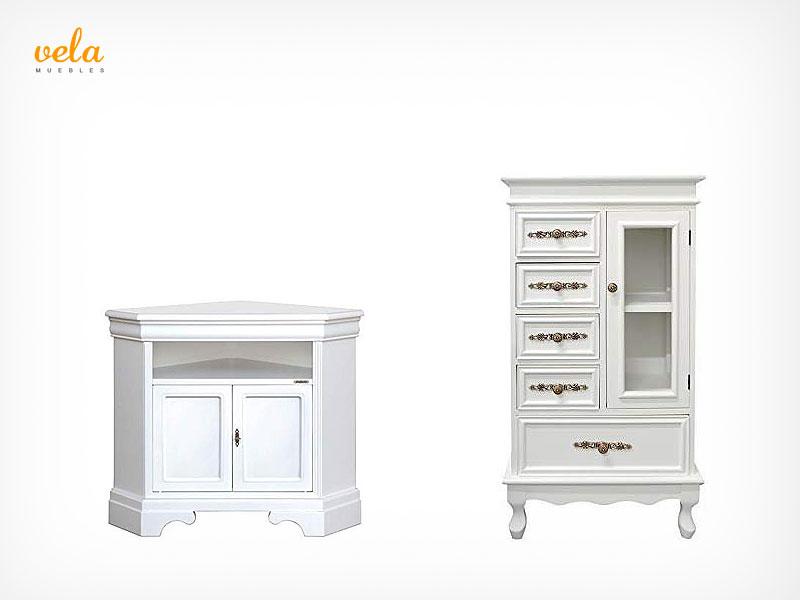 Muebles de salón clásicos en blanco