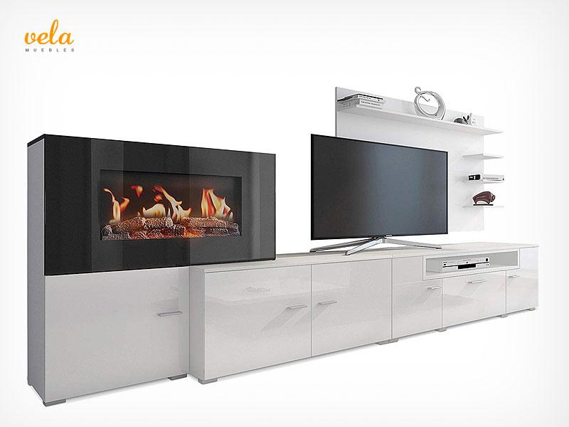 Muebles de salón con chimenea integrada