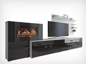Mueble salón con chimenea