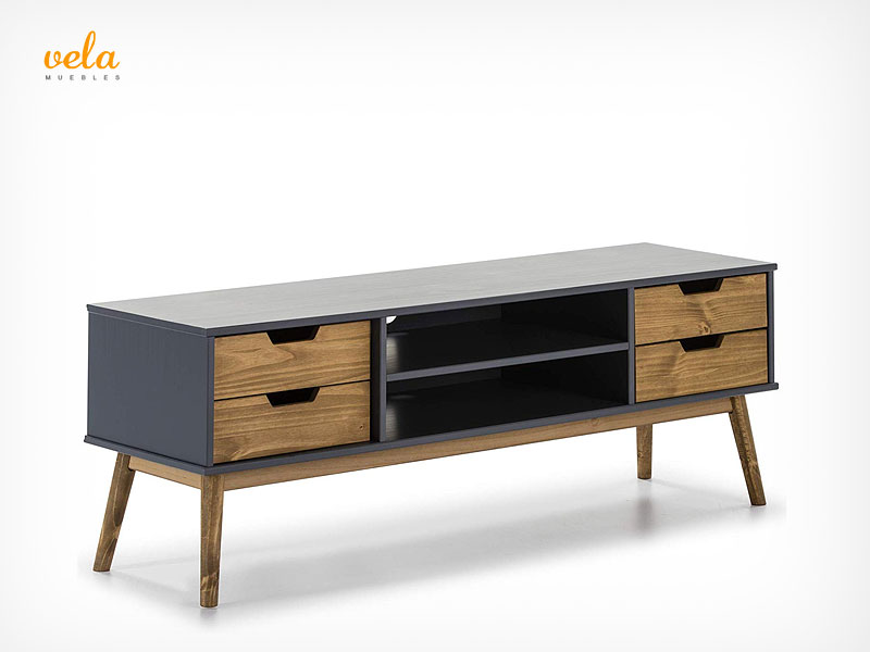 mueble salon gris y madera