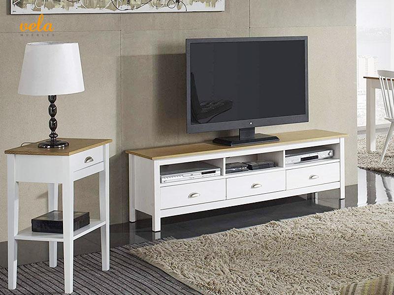 muebles salon madera maciza blanco