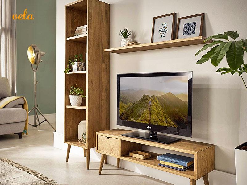 muebles salon madera maciza modulares